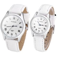 WoMaGe 9595 - 1 Fashionable Lovers Watch Time Showed by 12 Roman Numbers with Round Dial PU Leather Watchband-6.50 and Free Shipping| GearBest.com