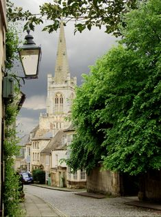 View of Barn Hill and All Saints Church, Stamford, Lincolnshire, England.