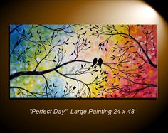 Large Abstract Love Birds in Tree Painting Modern Abstract Romance Rainbow Colors Silhouette 24x48 by JMichael