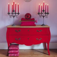 Birch chest of drawers in red W 120cm