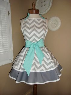 Chevron Print Accented with Aqua Blue Womans Retro Apron With Tiered Skirt And Bib. $45.00, via Etsy.