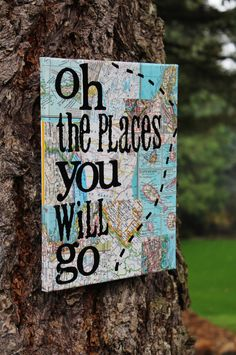 9x12 Oh the places you will go... Dr. Suess quote. by Houseof3