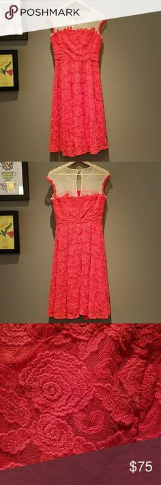 Anthropologie red poppy dress This dress has every occasion covered, from the ultra-fancy to just-because. The floral embroidering is stunning with the perfect flouncy fit and flare style. Red-deep orange color. Back zip with jeweled clasp. Cotton, nylon, polyester lining. Anthropologie Dresses Midi