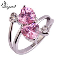 lingmei Free Shipping Lady Heart Pink & White AAA CZ Jewelry Silver Ring Size 6 7 8 9 10 Fashion Women Party Wholesale