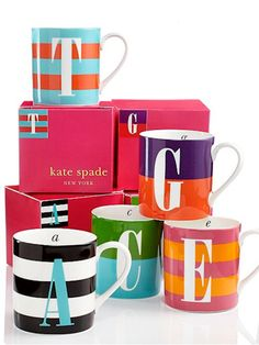 I got a D&B and suacers for Christmas Love the. Kate Spade New York Wickford Monogram Mugs