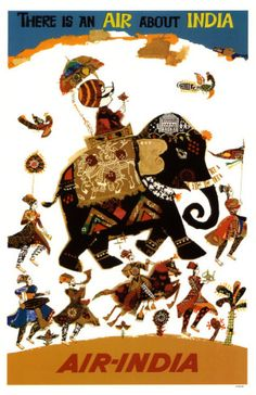 Air India Elephant poster. Perfect for a kid's room