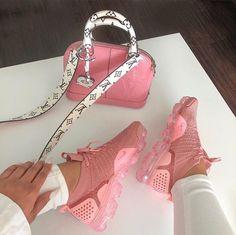 Lv handbag with Nike shoes Moda Sneakers, Cute Sneakers, Cute Shoes, Me Too Shoes, Shoes Sneakers, Shoes Heels, Crazy Shoes, Nike Slides, Sneakers Fashion