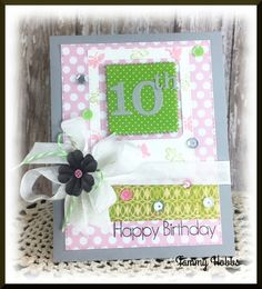 10th birthday card created by Tammy Hobbs @ Creating Somewhere Under The Sun. #numberbirthday, #numberbirthdaycard, #10thbirthdaycard, #kidscard, #handmadecard, #girlcard