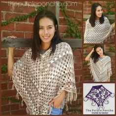 Timeless Boho Poncho -  Free Pattern by Carolyn Calderon ~ The Purple Poncho
