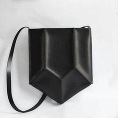 Leather pentagon handbag, geometric bag design // Crow