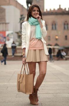 Alexandra Per (Lovely Pepa) - Zara scarf, skirt and wedge booties, Romwe blazer, Celop t-shirt, and Dimoni bag.