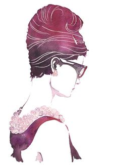 Audrey - watercolor & ink #illustration #watercolor