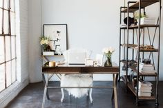 thatkindofwoman:  Keep coming back to how simple and eclectic this office is.
