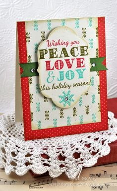 Peace Love & Joy Card by Dawn McVey for Papertrey Ink (September 2012)