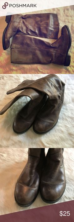 Distressed leather boots They are well worn but quality leather boots. Pull on, no zippers. A little tear at top, pictured. Price reflects any issues. Awesome boots tho! Kenneth Cole Reaction Shoes Combat & Moto Boots