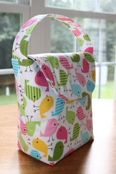 INSULATED Tweet Lunch Bag with FREE MONOGRAM and by sewingbeeshop