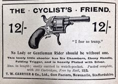 The cyclists friend - i fear no tramp of course it would be my first thought , not a repair kit or a bicycle pump but a pistol to fend off marauders very freaky gun advert Bike Humor, Lightning Strikes, Hand Guns, Carry On, Pump, Firearms, Special Interest, Bike Stuff, American