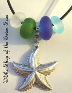 Starfish and Seaglass Lampwork Beads Euro Charm Necklace Jewelry Bracelet Blue White Green