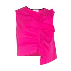 Isa Arfen Ruffled Sleeveless Top (42,770 INR) ❤ liked on Polyvore featuring tops, pink, pink tank top, pink crop top, ruffle tank top, cotton tank and pink top