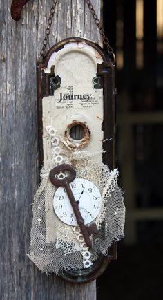 Escutcheon Plate Door Hardware Assemblage Art With Clock Gears U0026 Skeleton  Key | Assemblages | Pinterest | Best Assemblage Art Ideas