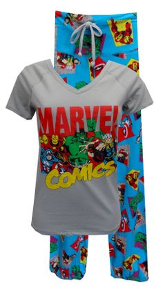 Marvel Comics Avengers Cast Pajama Set  Calling all superheroes...these are the jammies you have been waiting for! This pajama features the Marvel Comics Avengers cast on a grey v-neck top. The pant has a wide waistband with a drawstring tie. Pants are capri length with elasticized bottom edge, featuring Captain America, Thor, Hulk and Iron Man. Junior cut. Totally awesome! $30.00