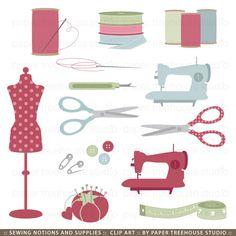 Sewing Kit Clip Art - Notions and Supplies - 14 Print Ready Files. $4.50, via Etsy.