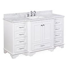 Nantucket 60-inch Single Bathroom Vanity (Carrara/White): Includes White Cabinet with Soft Close Drawers & Self Closing Doors, Authentic Italian Carrara Marble Top, and White Ceramic Sink - - Amazon.com
