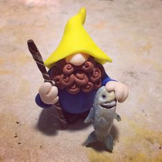 Polymer clay fisherman gnome! -By Tiny Things By Bowen