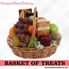 Basket of Treats for your loved ones this upcoming occasion - an enticing gourmet basket for relatives and friends! #basketoftreat #treats #flowers #basketflowers #florist #gift #surprise Gift Baskets Canada, Avas Flowers, Cookie Baskets, Send Flowers Online, Fruit Gifts, Flower Delivery Service, Gourmet Gift Baskets, Tea Cookies, Fresh Fruit