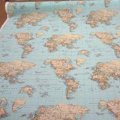 Atlas world globe map cotton linen fabric curtain blinds craft world map globe curtain upholstery dress cotton fabric material 140cm wide blue gumiabroncs Choice Image