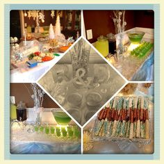 Winter wonderland themed bridal shower....like the lights under punch bowl.... Spray painted twigs for height-- perhaps gold??