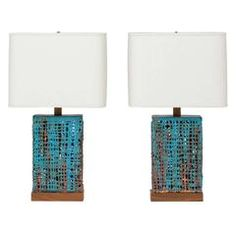 Vintage Turquoise and Rust Basket Weave Ceramic Lamps Signed by Clate Grunden