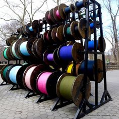 Desire Lines: 212 Oversized Spools of Thread Land in Central Park by Tatiana Trouvé | Untapped Cities
