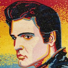 Elvis PresleySpectacularPortraitsMadefromThousandsofJellyBeans9