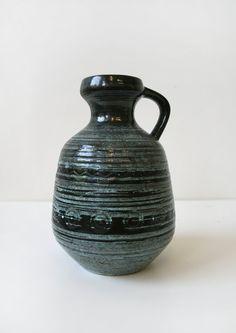Vintage Strehla Keramik West German Striped Ceramic by WestEstShop