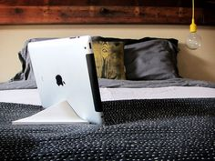 Facet iPad stand is nifty: Just rotate 3 different ways for different viewing angles depending on where you're sitting.