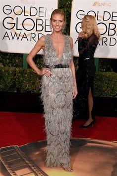 Heidi Klum in Marchesa - Look di piume grigie per Heidi Klum ai Golden Globe 2016