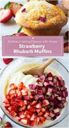 The secret ingredient for these fluffy strawberry rhubarb muffins here is Greek yogurt! Try this tip with other flavors and you'll be known as the Muffin Queen. (Chocolate Muffins With Greek Yogurt) Strawberry Rhubarb Muffins, Rhubarb Desserts, Strawberry Recipes, Healthy Rhubarb Recipes, Rhubarb Rhubarb, Oreo Desserts, Healthy Desserts, Muffin Recipes, Breakfast Recipes