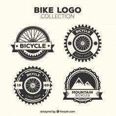 Four vintage bicycle logos Free Vector Logo Velo, Bike Logo, Logos Vintage, Bicycle Shop, Bicycle Design, Vintage Bicycles, Shop Logo, Logo Templates, Typography Design