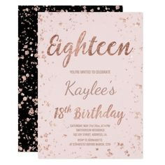 Faux Rose Gold Confetti Blush 18th Birthday Invitation