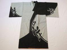 Japanese Vintage Kimono Chemical Fiber Black White Men's Cool P010730   eBay