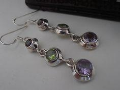 Multi stone sterling silver earrings