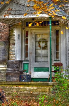 The old farmhouse side door entrance with it's small porch area
