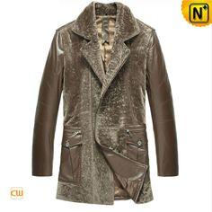 CWMALLS® Vintage Sheepskin Shearling Hooded Jacket CW836016