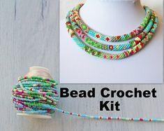 Jewelry Making Kit - Bead Crochet Kit - DIY Crafts DIY Kit for Adults - Summer Flower Patchwork Pattern Necklace Kit - Seed Beads Kit Bead Crochet Patterns, Bead Crochet Rope, Patchwork Patterns, Diy Kits For Adults, Jewelry Making Kits, Bead Kits, Crafts For Teens, Modern Jewelry, Craft Tutorials