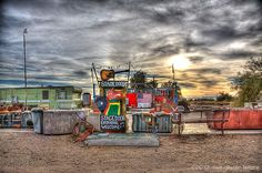 """""""The Slabs"""", California -- a unique, free-form trailer park using slabs from a former military establishment in the desert."""