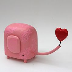 Aww. Pink elephant and heart by bunnywithatoolbelt, $80.00.