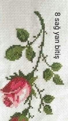 Palestinian Embroidery, Cross Stitch Flowers, Projects To Try, Rose, Hand Embroidery Stitches, Red Roses, Cross Stitch Embroidery, Towels, Celtic Cross Stitch