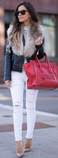 Mia Mia Mine Layering With Faux Fur Fall Street Style Inspo #mia