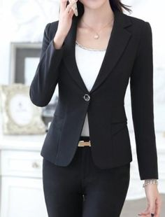 """Womens Narrow Slim Fit One Button Casual Blazer Size : S to L (slim fit) Material : Polyester Blend Color available : White, Pink , Black Measurement : Size Bust Waist Sleeve Shoulder XS 35"""" 29.5"""" 22.5"""" 14.5"""" S 40"""" 33.5"""" 23"""" 16"""" M 41"""" 35"""" 23.5"""" 17"""" *measurement maybe off by up to 1"""" due to measuring method. This item is slim fit cutting and check your measuring before ordering. Business Professional Attire, Business Casual Outfits For Women, Casual Work Outfits, Work Casual, Casual Blazer, Work Attire, Office Attire Women Professional Outfits, Young Professional Fashion, Stylish Outfits"""